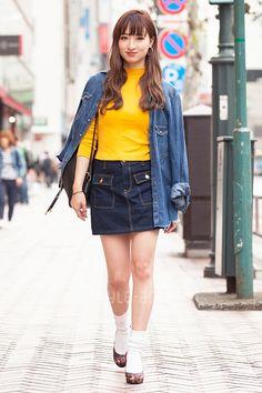 K | ZARA  H&M DKNY SLY | 1st week  Nov. 2016 | Shibuya | Tokyo Street Style | TOKYO STREET FASHION NEWS | style-arena.jp Shibuya Tokyo, Nov 2016, Tokyo Street Style, Street Snap, Japanese Street Fashion, Denim Skirt, Fashion News, Zara, Skirts