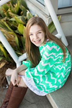 Chevron mint dress was perfect! Outdoor photo session!
