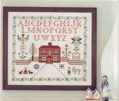 """Alicia Paulson's Folk Sampler (from """"Embroidery Companion""""). this will be my next big embroidery project (and my first time doing cross-stitch!), to be hung in our bedroom"""