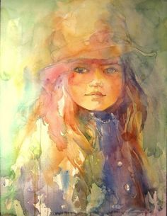 """""""Age pf Innocence"""" by Fealing Lin Watercolor Artist Watercolor Face, Watercolor Portraits, Watercolor Paintings, Watercolor Artists, Watercolor Trees, Watercolor Landscape, Abstract Paintings, Abstract Oil, Oil Paintings"""