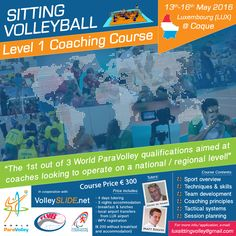 An e-flyer for a Sitting Volleyball Level 1 course in Luxembourg (Designed and Produced for VolleySLIDE)