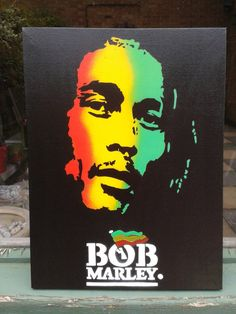 Bob Marley painting on canvasstencils  by AbstractGraffitiShop, $80.00