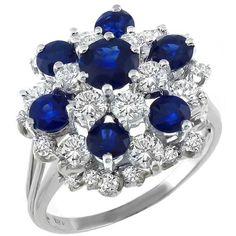 Estate 1.50ct Round Cut Diamond 1.00ct Round Cut Sapphire 18k White Gold Cocktail Ring