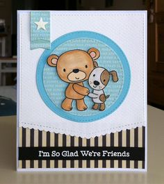 Card critters bear teddy dog MFT Friends Furever Die-namics MFT stitched circle stax Die-namics MFT Stitched Scallop Basic Edges Die-namics MFT Blueprints 12 element: small banner #mftstamps - JKE