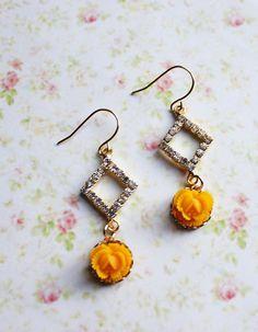 Marigold Rhinestones Earrings