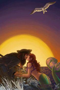 Cross-Film Romances: Amanda Lynn Cook Re-Imagines Jack Sparrow and Ariel as Lovers.//