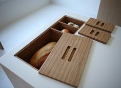 in-counter storage for bread, onions