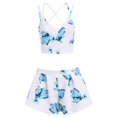 Spaghetti Strap Florals Crop Top With Shorts (21 CAD) ❤ liked on Polyvore featuring romwe, dresses, playsuits, tops and romper