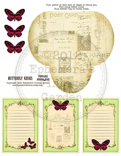 Add-on pocket and tags for 'Butterfly Kisses' journal kit, but looks good in any journal too!  $3.25