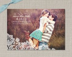 save the dates, lace Lace Save the Date Photo Cards. $40.00, via Etsy.