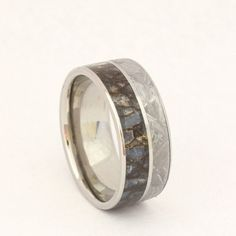 Slap on an emerald-cut moissanite, and this is the perfect engagement ring! Meteorite and Dinosaur Bone Ring on a Titanium by jewelrybyjohan