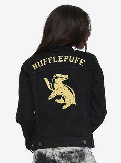 Harry Potter Hufflepuff Girls Denim Jacket, BLACK