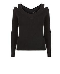 Black Ribbed V Neck Cold Shoulder Long Sleeve Top  | New Look