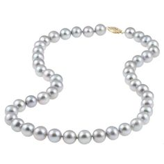 DaVonna 14k 9-10mm Grey Freshwater Cultured Pearl Strand Necklace