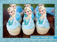 Check out our elsa cupcake topper selection for the very best in unique or custom, handmade pieces from our paper & party supplies shops. Frozen Cupcake Toppers, Frozen Cupcakes, Frozen Cake Topper, Cupcake Cupcake, Frozen Birthday Party, 3rd Birthday, Birthday Parties, Fondant, Fantasy Party