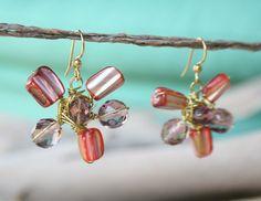 Big Gold FLOWER Earrings in Red Purple Shades by YLOjewelry, $22.00