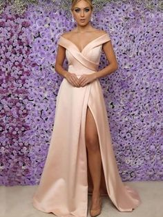 A-Line V-neck Pink Floor-Length Satin Prom Dresses - FabMiss, FL16033FL33, Spring, Summer, Fall, Winter, Satin, V-neck, A-Line/Princess, Sleeveless, Ruffles, Natural, Other, Floor-Length, fabmiss.com #PartyDresses