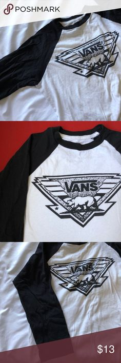 Boys 3/4 sleeve baseball tee Cute Vans logo. Small in boys but fits woman S/M. Great condition. Only worn a handful of times. Vans Tops Tees - Long Sleeve