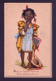 Scarce Brundage Black Negro School Girl Slate Valentine's Day Tuck Postcard | eBay