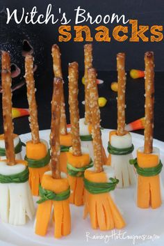 Halloween party treats: Witch's Brooms pretzels & string cheese