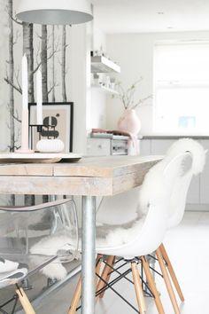 Tree Wallpaper + Lambskin in White Eiffel Chair