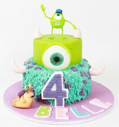 Monsters Inc, Monsters University birthday cake Monster University Cakes, Monster University Birthday, Monster Inc Cakes, Monster Inc Birthday, Monster Inc Party, 2nd Birthday, Birthday Parties, Birthday Stuff, Birthday Cakes