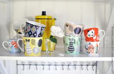 Crazy for these mugs by Camilla Lundsten of Littlephant