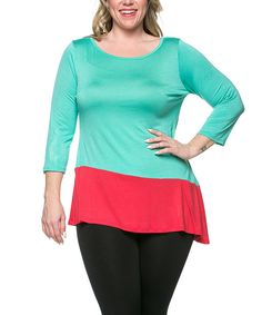 Look at this Mint & Coral Asymmetrical Tunic - Plus on #zulily today!