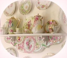 *Dining ❀⊱Drink Up⊰❀ pretty china on display