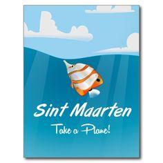 Sint Maarten holiday travel poster cartoon. Postcard