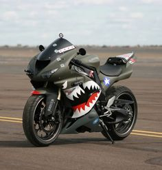 The Chinese called them Fei Hu, for the shark's teeth painted on their planes. Motorcycle Design, Motorcycle Style, Motorcycle Humor, Supercars, Dirt Bike Tattoo, Kawasaki Bikes, Kawasaki Ninja, Custom Sport Bikes, Futuristic Motorcycle