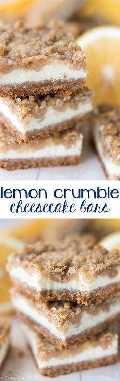 Lemon Crumble Cheesecake Bars - this cheesecake bar recipe has it all! A Nilla Wafer crust, lemon cheesecake, and lemon crumble!