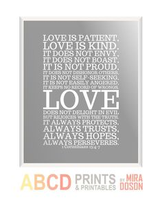 Bible verse, bible quote print Love is patient... 8x10 CUSTOM COLORS. $11.00, via Etsy.