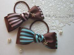 チョコミントorチョコピンク**リボンヘアゴム Bow Clip, Mint Chocolate, Hair Accessory, Hair Pins, Ribbons, Projects To Try, Jewels, Brown, Handmade