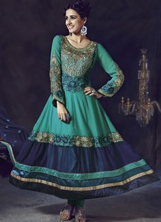 Rs. 4,099 Faux Georgette Anarkali Suit [Also on http://www.sonicasarees.co.in/blend-elegance-embroidered-resham-work-stone-work-and-zari-work-anarkali-suit-faux-georgette-green-festival-party-and-wedding-2777]