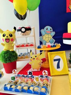 Festa Pokemon Go, Pokemon Party, Pokemon Birthday, 9th Birthday, Birthday Parties, Pikachu, Dragon Ball, Party Time, Alice