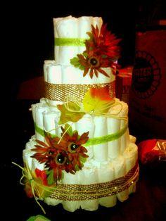 Fall theme diaper cake.