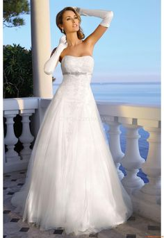 Elegant Princess Sweetheart Empire Waist Appliques Floor-Length Satin Homecoming Outdoor dress I like the dress, not the gloves. Elegant Wedding Dress, Perfect Wedding Dress, White Wedding Dresses, One Shoulder Wedding Dress, Casual Wedding, Summer Wedding, Bridal Gowns, Wedding Gowns, Lace Wedding