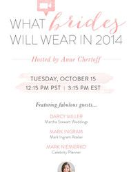 What Brides will be Wearing in 2014 - A Google Hangout all about Fashion  Read more - http://www.stylemepretty.com/2013/10/15/what-brides-will-wear-in-2014-a-google-hangout-all-about-fashion/