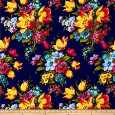 Cotton Quilt Fabric Olivia Large Floral Navy Blue Red Orange R Blake 1/2 Yard