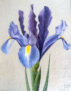 Voerman jr. J.    Hollandse Iris, olieverf op doek op schildersboard 15,0 x 12,0 cm, gesigneerd r.o. met monogram