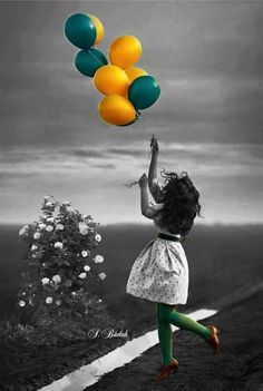 Splash of color Splash Photography, Color Photography, Black And White Photography, Black And White Pictures, Black And White Colour, Color Splash Photo, Splash Images, Photo Images, Colourful Balloons
