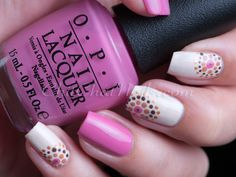 Nail art - pink and white with flower dots, OPI Suzi Has a Swede Tooth