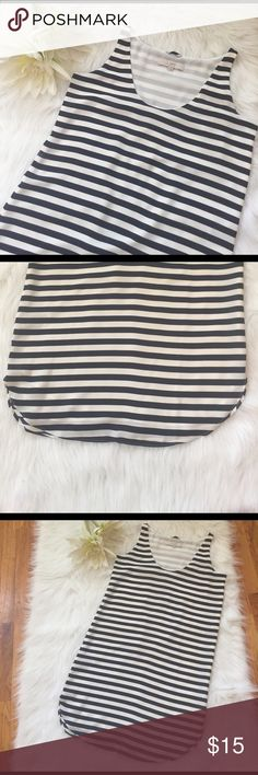 """⭐Dress⭐ ⭐Navy & White Striped Slip Dress by LOFT⭐In good condition⭐Comes with sash⭐Approximate measurements lying flat are: Length 33 1/2"""", Bust 17"""" & Arm Holes 6 1/2""""⭐Please use the offer button⭐I WILL NOT respond to offer in the comments⭐🚫NO TRADES🚫⭐Please visit my boutique closet @shoppurpledaisy⭐ LOFT Dresses Midi"""