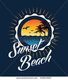Sunset beach typography, t-shirt graphics, vectors, surf,