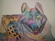 Perro con Zentangle y acuarelas