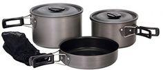 Camping Cookware Set 5 Piece Nonstick Nesting Pots Pan Lids Storage Bag New   eBay