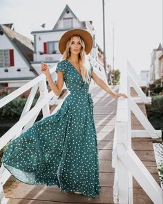 This one hits the spot for sure! The quality of our Hit The Spot Wrap Maxi Dress. Glam Dresses, Modest Dresses, Casual Dresses, Green Midi Dress, Maxi Wrap Dress, Polka Dot Summer Dresses, Summer Outfits, Cute Outfits, Maxi Gowns