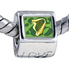 Pugster Bead Patrick's Day Theme Photo Love European Charm Bead Celtic Harp Fits Pandora Bracelet Pugster. $12.49. Unthreaded European story bracelet design. Fit Pandora, Biagi, and Chamilia Charm Bead Bracelets. Hole size is approximately 4.8 to 5mm. It's the photo on the love charm. Bracelet sold separately