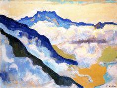 Les Dents du Midi vues de Caux de Ferdinand Hodler (1853-1918, Switzerland)